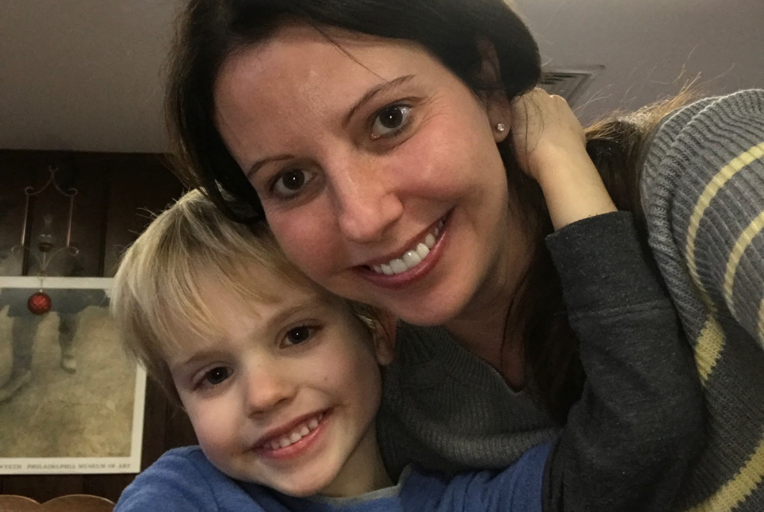 Seven-year-old A.J. Henwood with his mom, Nicole.