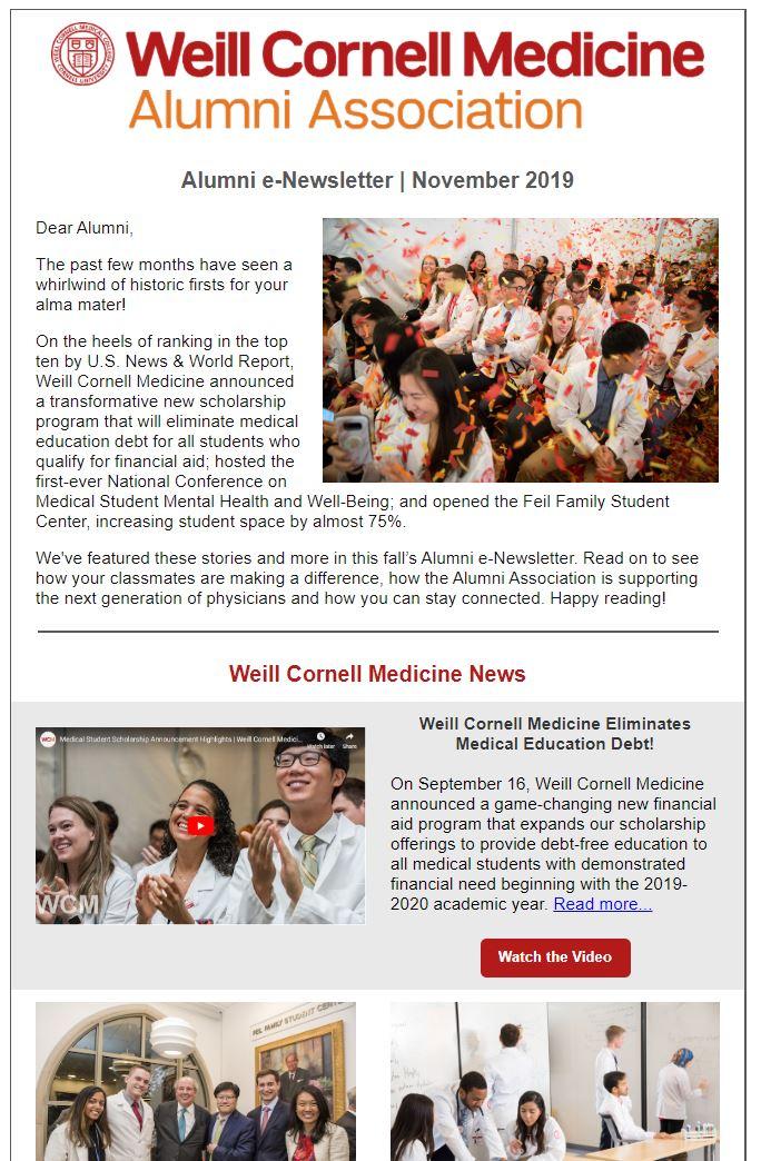 Alumni e-newsletter screenshot