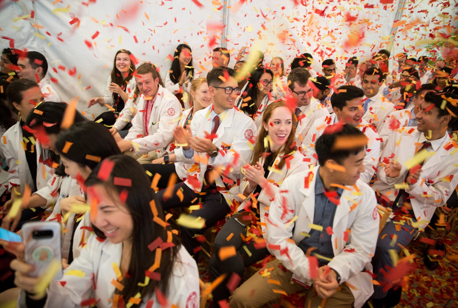 Students celebrating at an event
