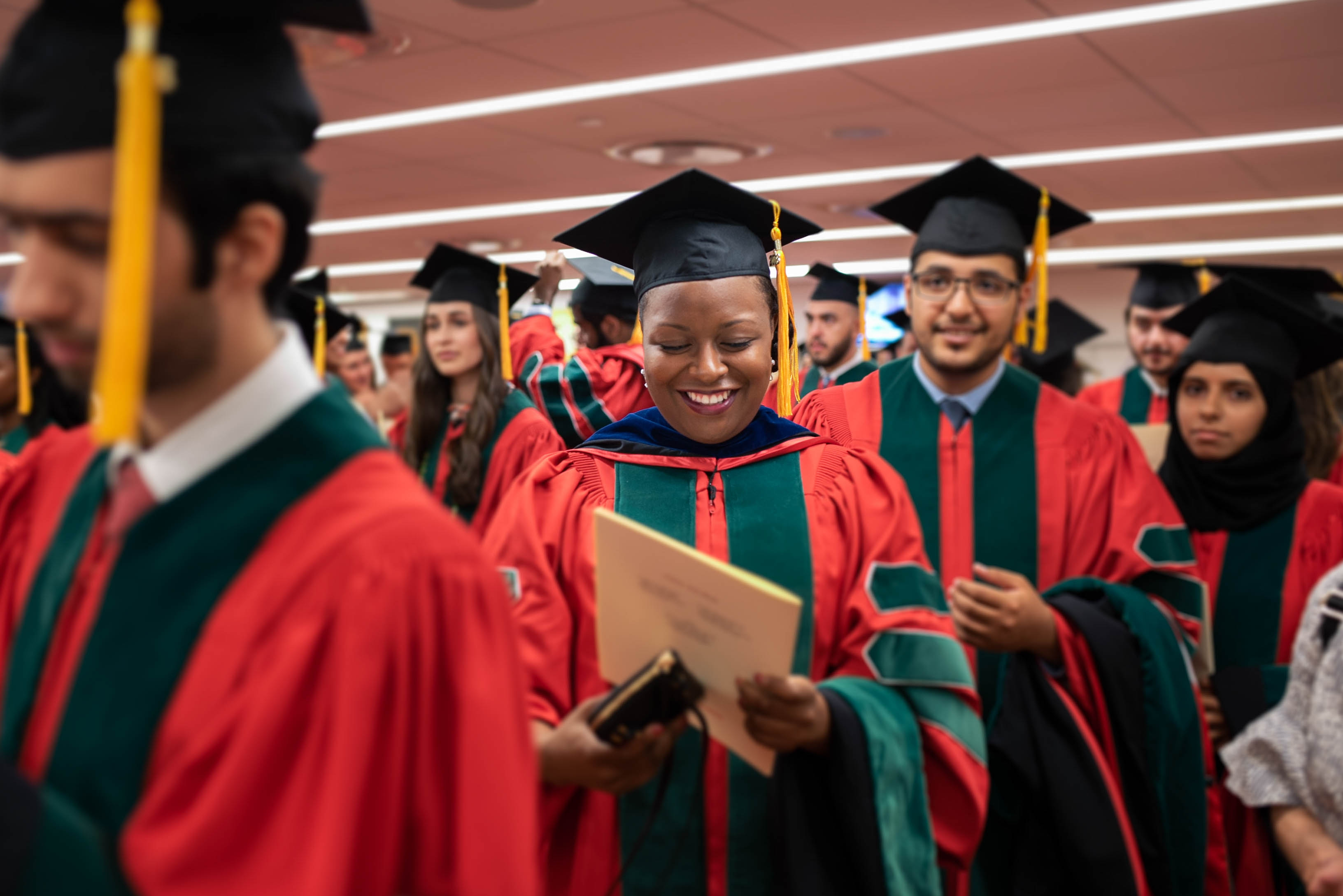 Dr. Rolake Alabi, MD'18, PhD'16 waits backstage before the Commencement ceremony on May 31. All photos taken by Amelia Panico. Click photo to view the full Commencement Flickr gallery.