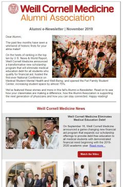 Alumni e-newsletter screenshot